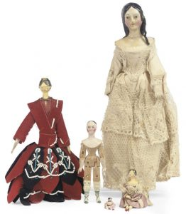 TWO WOOD AND COMPOSITION DOLL'S HOUSE DOLLS