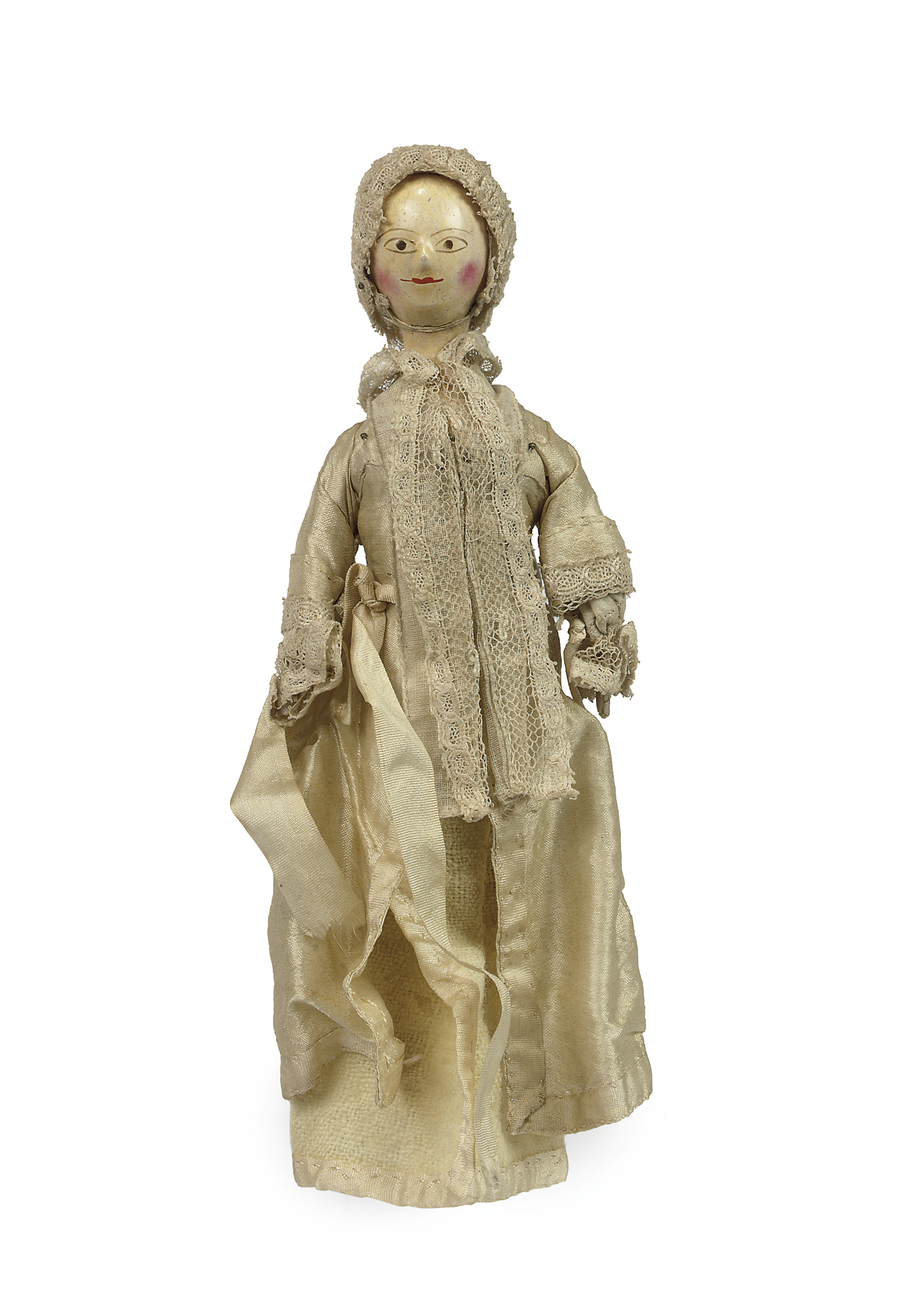 A Very Rare George Ii Turned Wood Baby Doll Mid 18th Century
